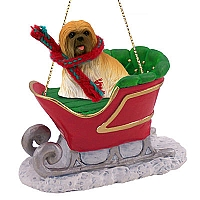 Lhasa Apso Brown Sleigh Ride Ornament