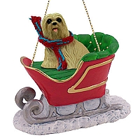 Lhasa Apso Blonde Sleigh Ride Ornament