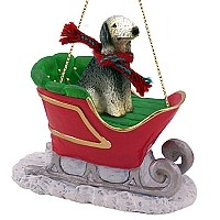 Bedlington Terrier Sleigh Ride Ornament