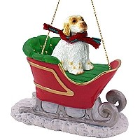 Clumber Spaniel Sleigh Ride Ornament