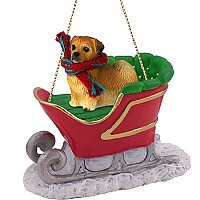 Tibetan Spaniel Sleigh Ride Ornament