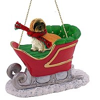 Lhasa Apso Brown w/Sport Cut Sleigh Ride Ornament