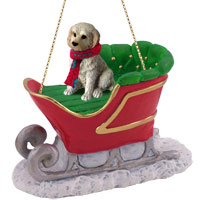 Labradoodle Cream Sleigh Ride Ornament