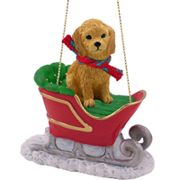 Goldendoodle Sleigh Ride Ornament