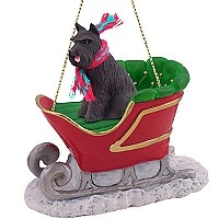 Schnauzer Black Sleigh Ride Ornament
