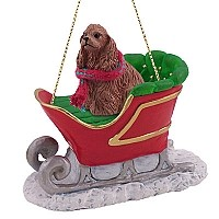 Cocker Spaniel Brown Sleigh Ride Ornament