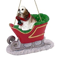 Cocker Spaniel Brown & White Sleigh Ride Ornament