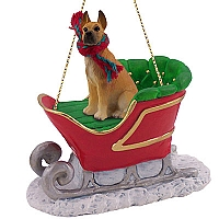Great Dane Fawn Sleigh Ride Ornament
