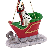 Great Dane Harlequin Sleigh Ride Ornament