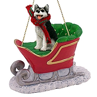 Husky Black & White w/Brown Eyes Sleigh Ride Ornament