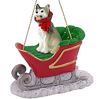 Husky Gray & White w/Brown Eyes Sleigh Ride Ornament
