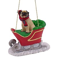 Pug Fawn Sleigh Ride Ornament