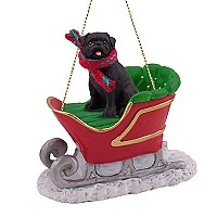 Pug Black Sleigh Ride Ornament