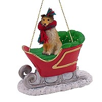 Sheltie Sable Sleigh Ride Ornament