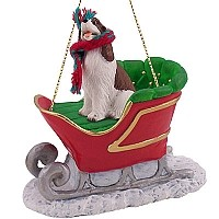 Springer Spaniel Liver & White Sleigh Ride Ornament