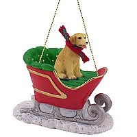 Labrador Retriever Yellow Sleigh Ride Ornament