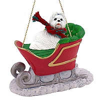 Shih Tzu White Sleigh Ride Ornament