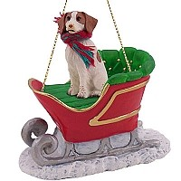 Brittany Brown & White Spaniel Sleigh Ride Ornament