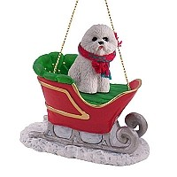 Bichon Frise Sleigh Ride Ornament