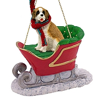 Saint Bernard w/Rough Coat Sleigh Ride Ornament