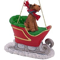 Airedale Sleigh Ride Ornament