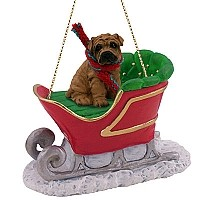 Shar Pei Brown Sleigh Ride Ornament