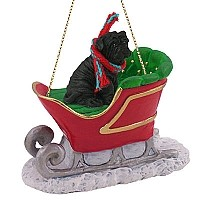 Shar Pei Black Sleigh Ride Ornament