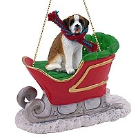 Saint Bernard w/Smooth Coat Sleigh Ride Ornament
