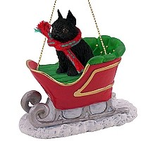 Brussels Griffon Black Sleigh Ride Ornament