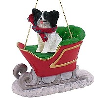 Papillon Black & White Sleigh Ride Ornament