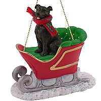 Staffordshire Bull Terrier Brindle Sleigh Ride Ornament