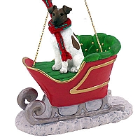Fox Terrier Brown & White Sleigh Ride Ornament