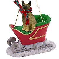 Norwegian Elkhound Sleigh Ride Ornament