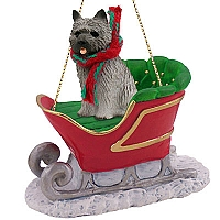 Cairn Terrier Gray Sleigh Ride Ornament