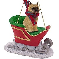 Cairn Terrier Red Sleigh Ride Ornament