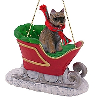 Cairn Terrier Brindle Sleigh Ride Ornament