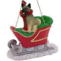 Akita Gray Sleigh Ride Ornament
