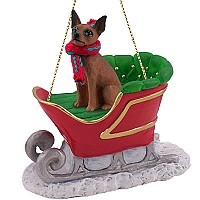 Miniature Pinscher Red & Brown Sleigh Ride Ornament