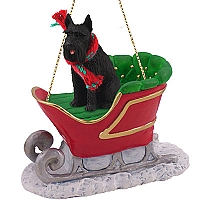 Schnauzer Giant Black Sleigh Ride Ornament