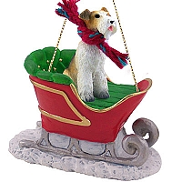 Wire Fox Terrier Red Sleigh Ride Ornament