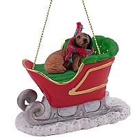 Dachshund Longhaired Red Sleigh Ride Ornament