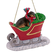 Dachshund Longhaired Black Sleigh Ride Ornament