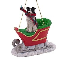Border Collie Sleigh Ride Ornament