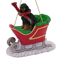 Gordon Setter Sleigh Ride Ornament