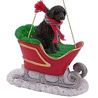 Portuguese Water Dog Sleigh Ride Ornament