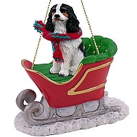 Cavalier King Charles Spaniel Black & White Sleigh Ride Ornament