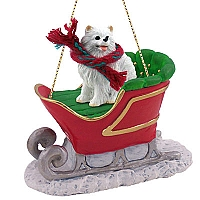 American Eskimo Miniature Sleigh Ride Ornament