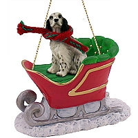 English Setter Belton Blue Sleigh Ride Ornament