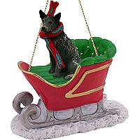 Australian Cattle BlueDog Sleigh Ride Ornament