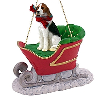 American Fox Hound Sleigh Ride Ornament